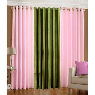 Iliv Plain Eyelet Curtain 5 feet ( Set Of 3 ) Babypink Green