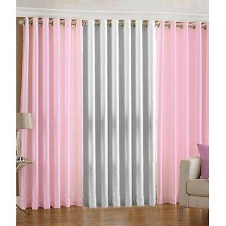 Iliv Plain Eyelet Curtain 5 feet ( Set Of 3 ) Babypink White