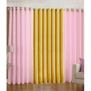 Iliv Plain Eyelet Curtain 5 feet ( Set Of 3 ) Babypink Yellow