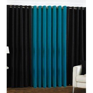 Iliv Plain Eyelet Curtain 7 feet ( Set Of 3 ) Black Aqua: Buy Iliv ...