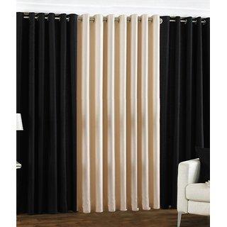 Iliv Plain Eyelet Curtain 5 feet ( Set Of 3 ) Black Cream
