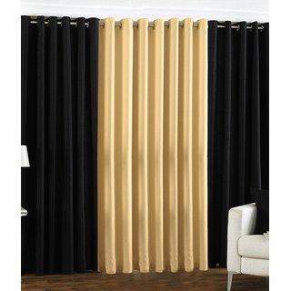 Iliv Plain Eyelet Curtain 5 feet ( Set Of 3 ) Black Fawn