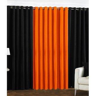 Iliv Plain Eyelet Curtain 5 feet ( Set Of 3 ) Black Orange