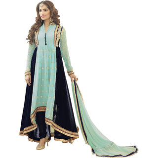 Jiya Presents Embroidered Georgette Dress Material(Turquoise,Navy Blue) BTVTPR156