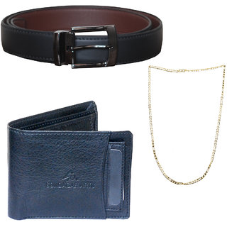 db4c4241a17 Sondagar Arts Latest Non Leather Belts Wallet Chain Combo Offers for Men  CSAQ045FS available at ShopClues