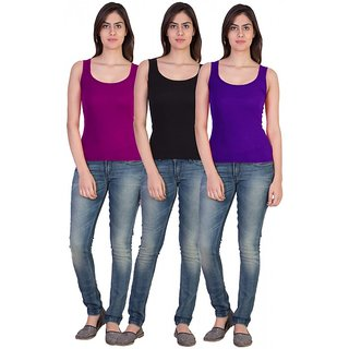 17.Hills Cotton Ribs Top Sando  Camisole (Pack of 3)