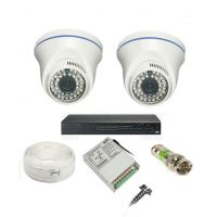 Rapter CCTV COMBO KIT, 36IR Dome Camera 2 Pcs + 4 Channel Power Supply + 4 Channel HD/AHD DVR + 90 Meter 3+1 Wire (LIMITED STOCK)