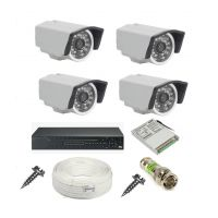 Rapter CCTV COMBO KIT, 36IR Bullet Camera 4 Pcs + 4 Channel Power Supply + 4 Channel HD/AHD DVR + 90 Meter 3+1 Wire (LIMITED STOCK)