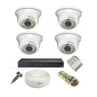 Rapter CCTV COMBO KIT, 36IR Dome Camera 4 Pcs + 4 Channel Power Supply + 4 Channel HD/AHD DVR + 90 Meter 3+1 Wire (LIMITED STOCK)