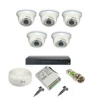 Rapter CCTV COMBO KIT, 36IR Dome Camera 5 Pcs + 8 Channel Power Supply + 8 Channel HD/AHD DVR + 90 Meter 3+1 Wire (LIMITED STOCK)