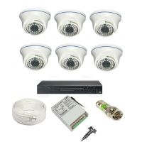 Rapter CCTV COMBO KIT, 36IR Dome Camera 6 Pcs + 8 Channel Power Supply + 8 Channel HD/AHD DVR + 90 Meter 3+1 Wire (LIMITED STOCK)