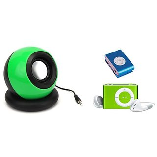 Combo of 2 in 1 Portable Mini AUX Speakers with iPod Style Mini MP3 Music Player