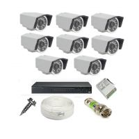 Rapter CCTV COMBO KIT, 36IR Bullet Camera 8 Pcs + 8 Channel Power Supply + 8 Channel HD/AHD DVR + 90 Meter 3+1 Wire (LIMITED STOCK)