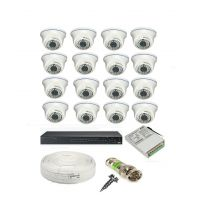 Rapter CCTV COMBO KIT, 36IR Dome Camera 16  Pcs + 16 Channel Power Supply + 16 Channel HD/AHD DVR + 90 Meter 3+1 Wire (LIMITED STOCK)