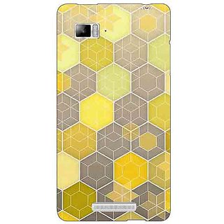 Jugaaduu Yellow Hexagons Pattern Back Cover Case For Lenovo K910 - J710273