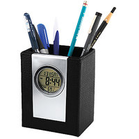 Exclusive Leather Clock Pen Holder Stand With Digital Alarm LCD Display - P06
