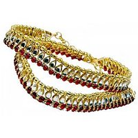 The Pari Multicolor Alloy Gold Plated Pair Of Anklets For Women