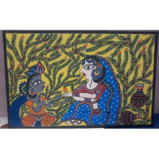 anu criation traditional madhubani painting khrishna and yshoda
