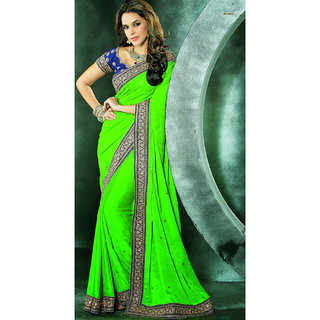Glorious Green Georgette Embroidered Saree available at ShopClues for Rs.6182