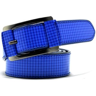 Wholesome Deal womens royal blue colour non Leatherite pin buckle belt with 1.2 inches