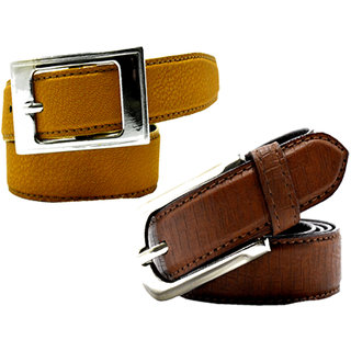 Wholesome Deal womens yellow and brown colour non Leatherite pin buckle belt with 1 inches (Pack of Two)