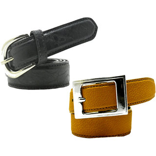 Wholesome Deal womens yellow and black colour non Leatherite pin buckle belt with 1 inches (Pack of Two)