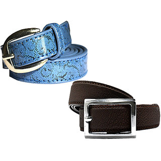 Wholesome Deal womens blue and dark brown colour non Leatherite pin buckle belt with 1 inches (Pack of Two)