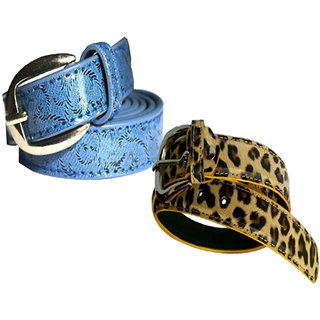 Wholesome Deal womens blue and brown colour non Leatherite pin buckle belt with 1 inches (Pack of Two)