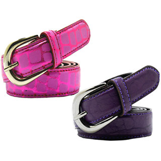 Wholesome Deal womens pink and purple colour non Leatherite pin buckle belt with 1 inches (Pack of Two)