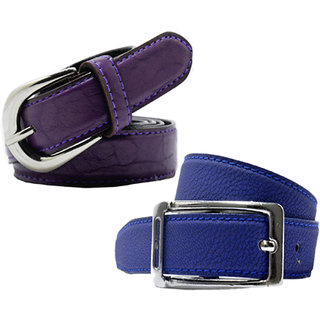 Wholesome Deal womens royal blue and purple colour non Leatherite pin buckle belt with 1 inches (Pack of Two)