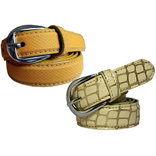 Wholesome Deal womens yellow and cream colour non Leatherite pin buckle belt with 1 inches (Pack of Two)
