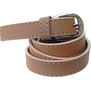 Wholesome Deal womens brown colour non Leatherite pin buckle belt with 1 inches