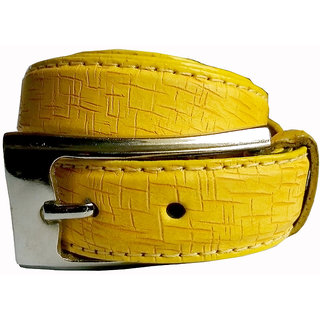 Wholesome Deal womens yellow colour non Leatherite pin buckle belt with 1 inches