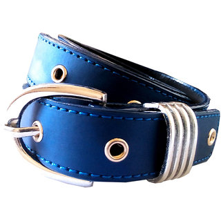 Wholesome Deal womens royal blue colour non Leatherite pin buckle belt with 1 inches