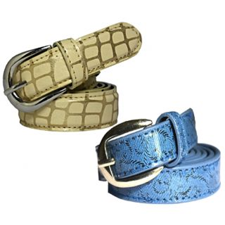 Wholesome Deal womens blue and cream colour non Leatherite pin buckle belt with 1 inches (Pack of Two)