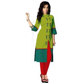 Khoobee Presents Cotton Stylish Kurti(Parrot Green)