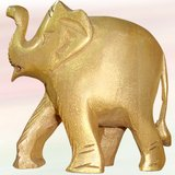 """2.5"""" Wooden Hand Carved Gold Painted Elephant"""