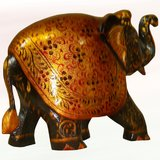 """6"""" Wooden Hand Carved Black & Gold Painted Elephant"""
