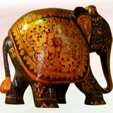 """4"""" Wooden Hand Carved Black & Gold Painted Elephant"""