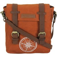 The House of Tara Men Women Tan Canvas Genuine Leather Messenger Bag