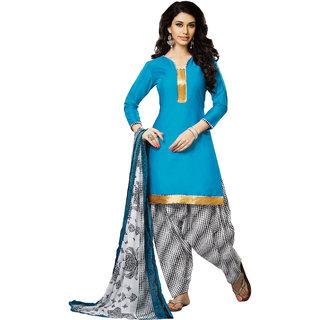 Khoobee Cotton Patiyala Dress Material (Sky Blue, Black, White)