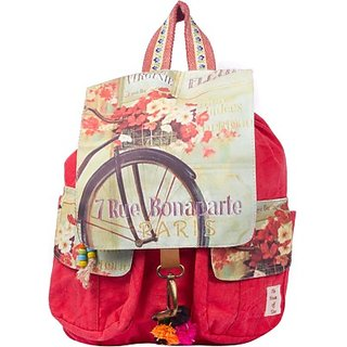 The House of Tara Printed Flaps Canvas 16 L Medium Backpack (Coral Red Size - 350) HTBP 082