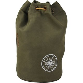 The House of Tara Wax Coated Cotton Canvas Rucksack 21 L Backpack (Olive Green) HTBR 03