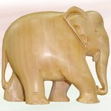 "3"" Natural Wooden Coloured And Hand Carved Elephant"