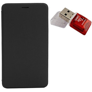 Romito Premium Quality Mobile Flip Cover For Gionee Pioneer P3 Black With Card Reader available at ShopClues for Rs.239