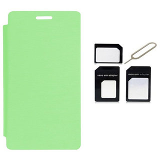 Romito Premium Quality Flip Cover With Micro/Nano Sim Adapter For-- Samsung Galaxy Star Pro Gt-S7262 - Green