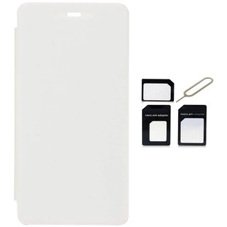 Romito Premium Quality Flip Cover With MicroNano Sim Adapter For Micromax Bolt A47  White available at ShopClues for Rs.249
