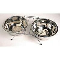 Petshop7 Stainless Steel Double Dinner Set  with -460MLx2 Dog Food bowls -Medium