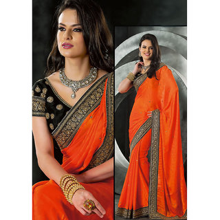 Ostentatious Orange Georgette Embroidered Saree available at ShopClues for Rs.6182