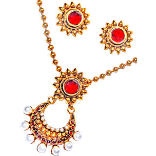 Maroon Red White Moti Traditional Bollywood Pendant Set